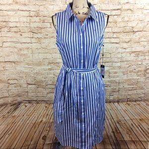 New Tommy Hilfiger Striped Sleeveless Shirt Dress